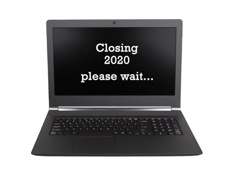 Modern laptop isolated on a white background - New Year - 2020 - 2021 Stock Photo