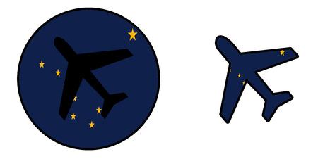 alaska: Nation flag - Airplane isolated on white - Alaska Stock Photo