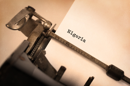 country nigeria: Inscription made by vinrage typewriter, country, Nigeria Stock Photo