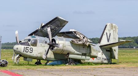 lelystad: Lelystad, the Netherlands - June 9, 2016; Old Grumman S-2A Tracker waiting to be restored at Lelystad Airfield, the Netherlands on June 9, 2016.