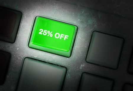 discounting: Button on a dirty old panel, selective focus - 25% off Stock Photo