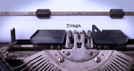 togo: Inscription made by vintage typewriter, country, Togo