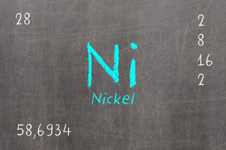 Isolated blackboard with periodic table, Nickel, Chemistry Stock Photo