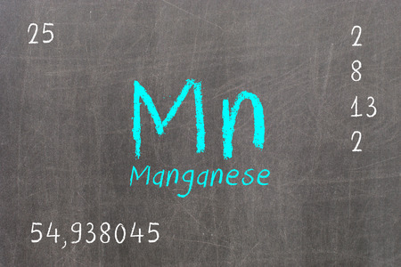 Isolated blackboard with periodic table, Manganese, Chemistry Stock Photo