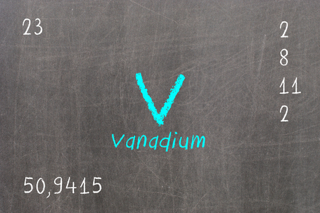 Isolated blackboard with periodic table, Vanadium, Chemistry Stock Photo