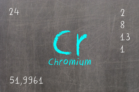 Isolated blackboard with periodic table, Chromium, Chemistry Stock Photo