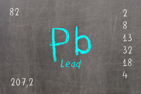 Isolated blackboard with periodic table, Chromium, Chemistry Stock Photo