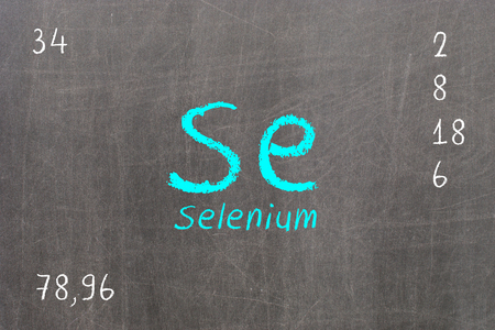 Isolated blackboard with periodic table, Selenium, Chemistry