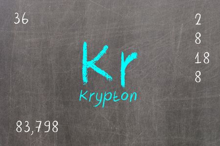 Isolated blackboard with periodic table, Krypton, chemistry