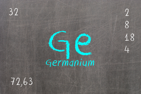 Isolated blackboard with periodic table, Germanium, chemistry Stock Photo