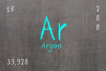 Isolated blackboard with periodic table, Argon, chemistry
