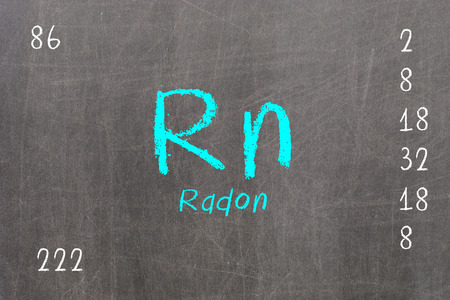 radon: Isolated blackboard with periodic table, Radon, chemistry Stock Photo