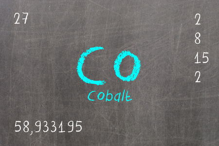 Isolated blackboard with periodic table, Cobalt, chemistry