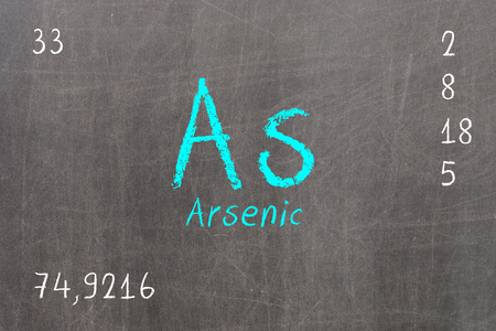 Isolated blackboard with periodic table, Arsenic, chemistry