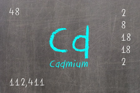 Isolated blackboard with periodic table, Cadmium, Chemistry Stock Photo