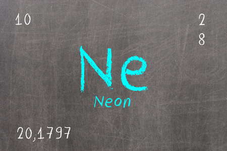 Isolated blackboard with periodic table, Neon, Chemistry Stock Photo