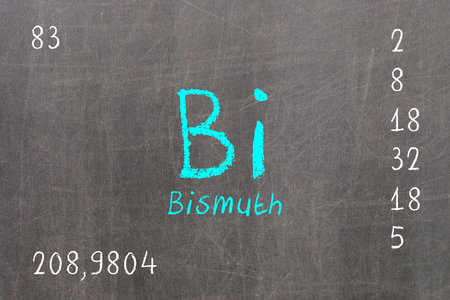 bismuth: Isolated blackboard with periodic table, Bismuth, Chemistry