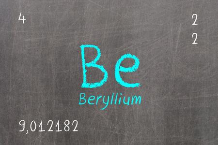 Isolated blackboard with periodic table, Beryllium, Chemistry