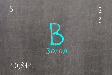 Isolated blackboard with periodic table, Boron, Chemistry