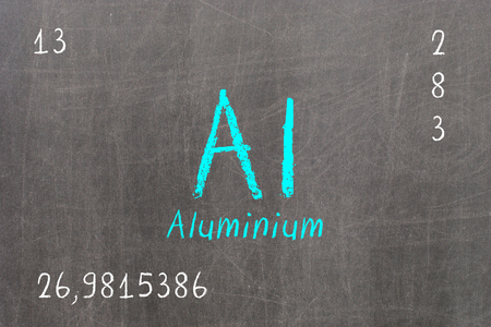 lanthanoids: Isolated blackboard with periodic table, Aluminium, Chemistry
