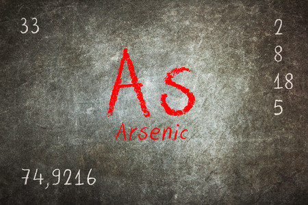 arsenic: Isolated blackboard with periodic table, Arsenic, chemistry