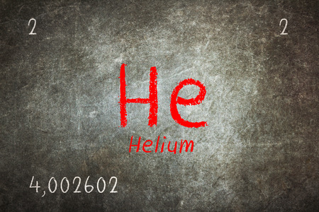 Isolated blackboard with periodic table, Helium, Chemistry