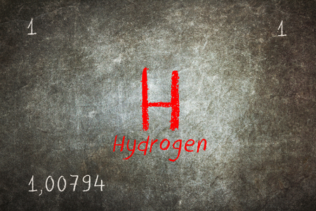 Isolated blackboard with periodic table, Hydrogen, Chemistry