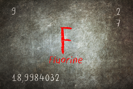 Isolated blackboard with periodic table, Fluorine, Chemistry