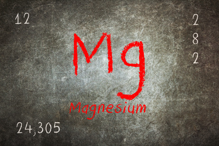 lanthanoids: Isolated blackboard with periodic table, Magnesium, Chemistry Stock Photo