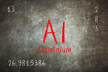 neutrons: Isolated blackboard with periodic table, Aluminium, Chemistry