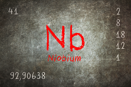 Isolated blackboard with periodic table, Niobium, chemistry