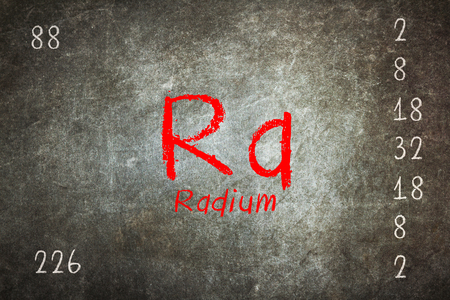 radium: Isolated blackboard with periodic table, Radium, Chemistry