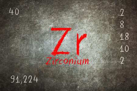 Isolated blackboard with periodic table, Zirconium, Chemistry Stock Photo