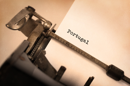 Inscription made by vintage typewriter, country, Portugal Stock Photo