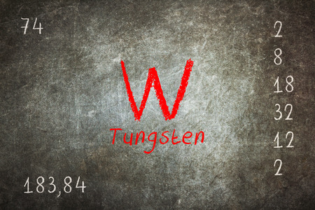 Isolated blackboard with periodic table, Tungsten, Chemistry