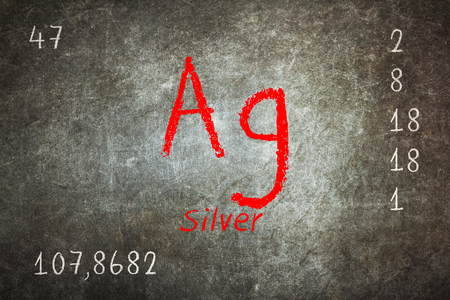 ag: Isolated blackboard with periodic table, Silver, Chemistry