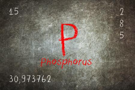 Isolated blackboard with periodic table, Phosphorus, Chemistry Stock Photo