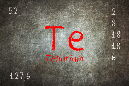 atomic symbol: Isolated blackboard with periodic table, Tellurium, Chemistry