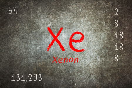 Isolated blackboard with periodic table, Xenon, Chemistry Stock Photo