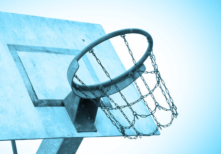 Basketball court in an old jail, the Netherlands, blue Stock Photo