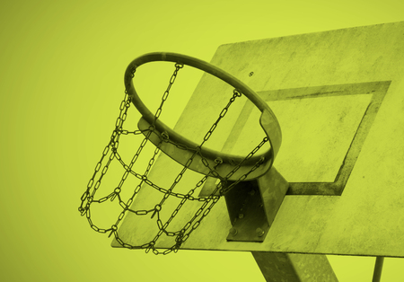 Basketball court in an old jail, the Netherlands, yellow Stock Photo