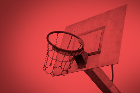 Basketball court in an old jail, the Netherlands, red Stock Photo
