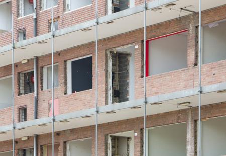 the aftermath: Demolishing a block of flats, selective focus Stock Photo