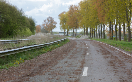 Abandoned road in the Netherlands, not being used for a long time