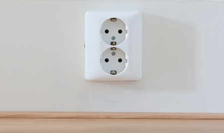 European power socket in a dutch house Stok Fotoğraf