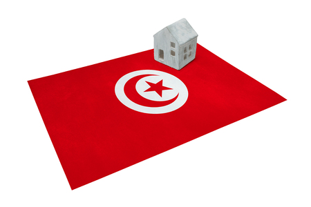 real estate house: Small house on a flag - Living or migrating to Tunisia Stock Photo