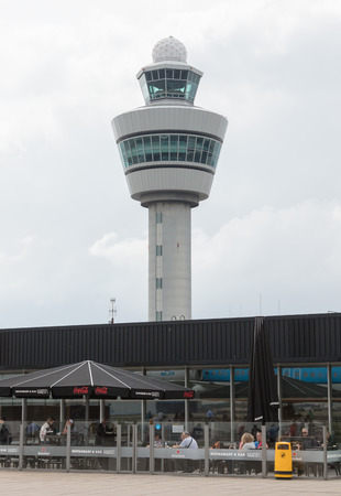 Schiphol, The Netherlands on June 29, 2017; View of the control tower of Schiphol on 29 june 2017. Editorial