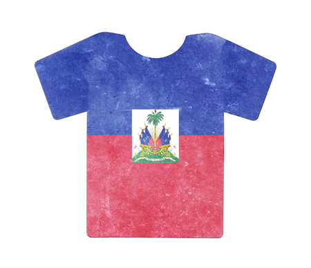 Simple t-shirt, flithy and vintage look, isolated on white - Haiti