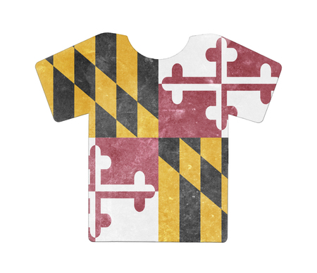 maryland flag: Simple t-shirt, flithy and vintage look, isolated on white - Maryland