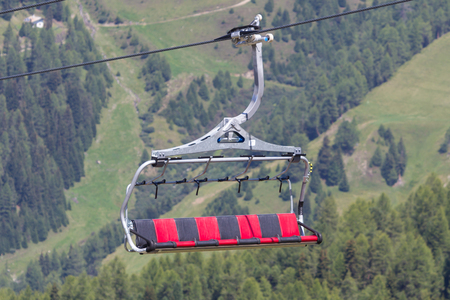 tripped: Ski lift chair in the Alps - Austria Stock Photo